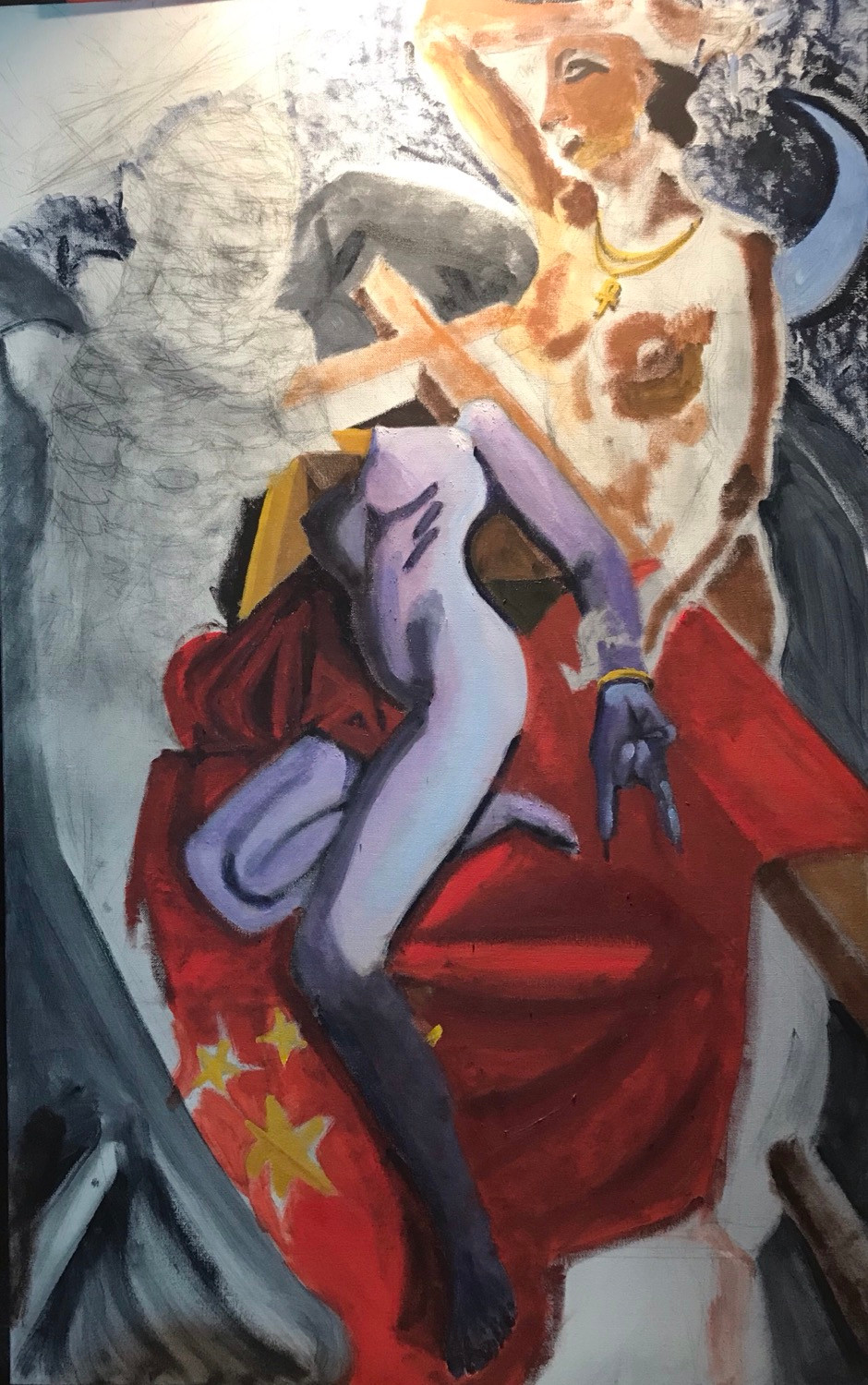 This is a pandemic painting, work in progress (WIP). Deva the Bohdisatva of health is being lowered from the cross into the Arc of the Covenant lined by the flag of the Republic of China by a winged angel and mourned by an Egyptian diety under the light of the moon.