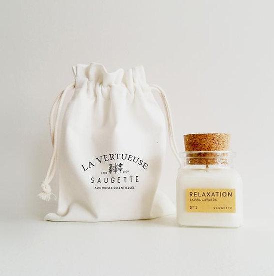 """Bougie """"Relaxation"""" parfumée aux huiles essentielles biologiques"""