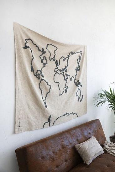 Map monde tissu