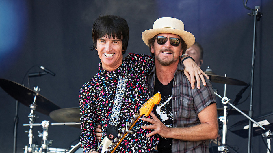Eddie Vedder and Johnny Marr