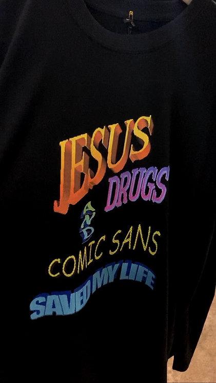 Футболка Feelosophy Jesus, Drugs and Comic Sans Saved My Life