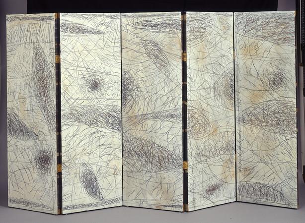 Paravent double-face cinq panneaux, 1992
