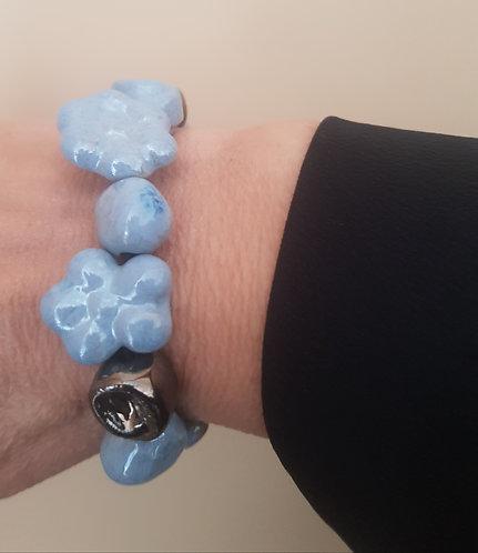 Bracciale azzurro perlato