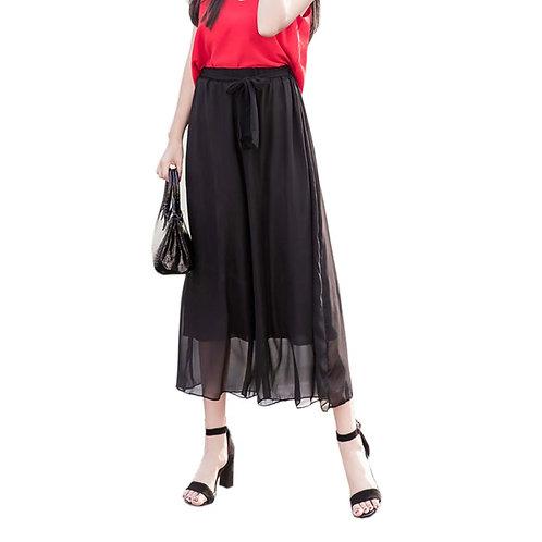 Classic Black Thin Pants Women Loose Slacks Beach Clothing for Summer Holiday