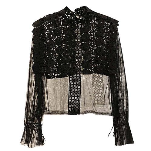 Retro Princess Delicate Thin Gauze Shirt Lace Black Party Clothing for Slim Girl