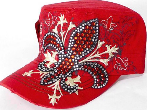 Red Bling-de lis Cadet Cap (approx ages 4+)