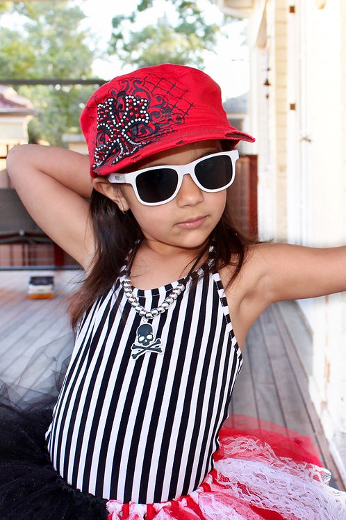 Red Bling-cross Cadet Cap (approx ages 4+)