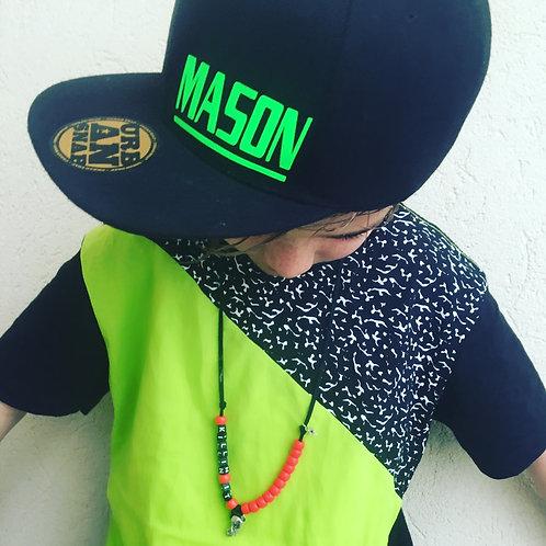Customisable Snap-back Cap (Black Adult Sized)