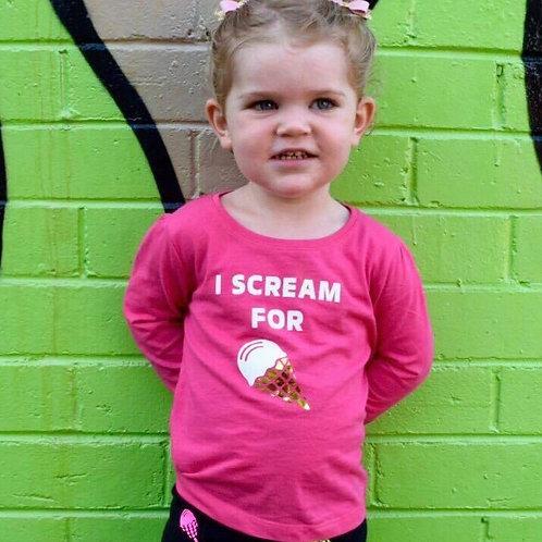 I Scream for Ice cream tee (Hot Pink Sizes 0-6)