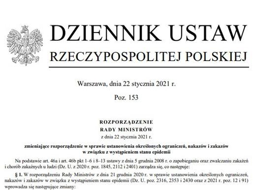 UWAGA! Kolejne zmiany prawne - Rozporządzenie Rady Ministrów z dnia 22.01.2021r