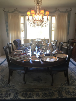Solid Wood & Brass Dining Room Set