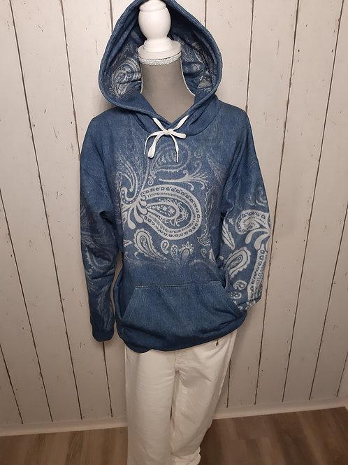 Hoodie im Denim Style mit zarten Muster