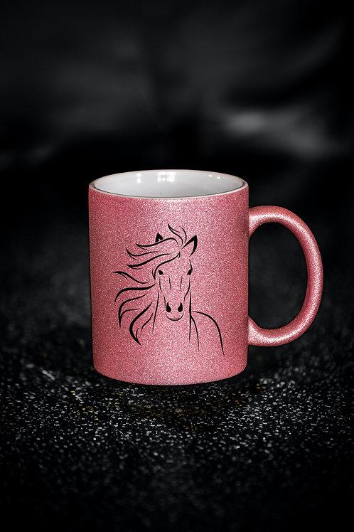 Glitzer Keramik Tasse rosa, 330ml,Pferd