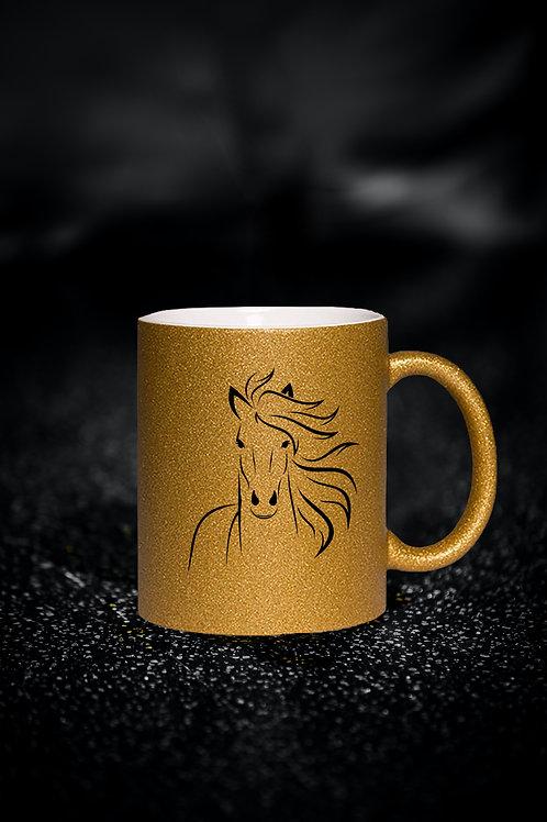 Glitzer Keramik Tasse gold, 330ml,Pferd