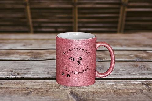Glitzer Keramik Tasse rosa, 330ml,Katzenliebe