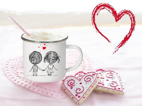 Emaille Tasse, weiß Valentinstag. Pärchen. rechts