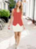 Kleid oranhe muster schick Long Top.jpg