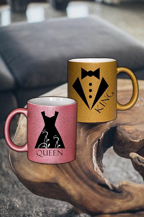 Glitzer Keramik Tasse gold, 330ml,Pärchen King & Queen