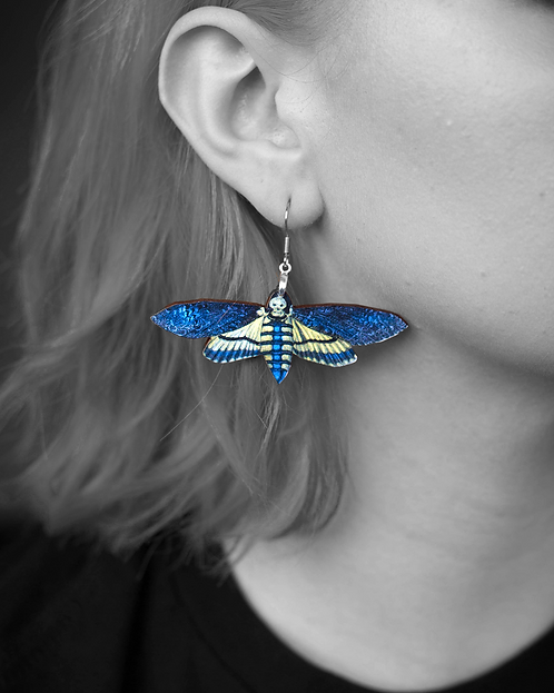 """Death Moth"" in Blue Earrings"