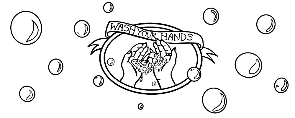 Line illustration of washing hands and bubbles