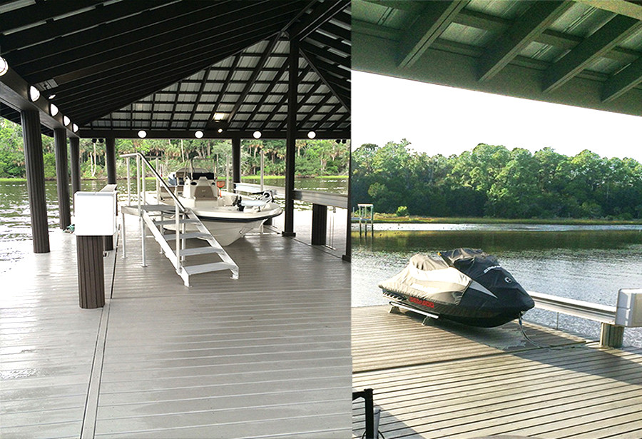 This boat house lift features an elevating platform.