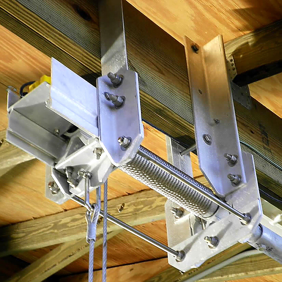Out boat House lift bracket attached to top main beam