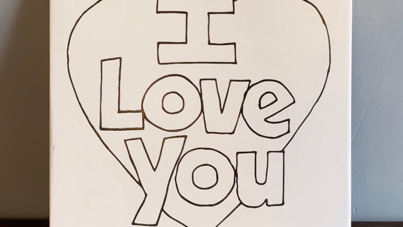 """I Love You"" Coloring Book Tile"