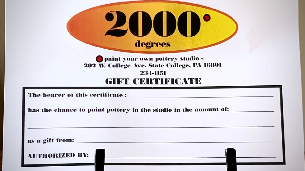 Gift Certificate: $20