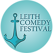 A line drawing of an anchor with the words Leith Comedy Festival beside it, all in a blue circle