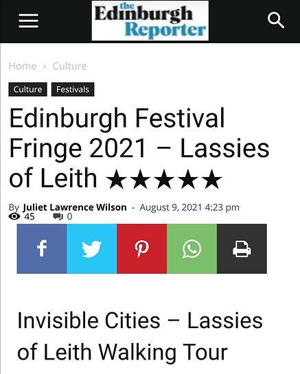 Edinburgh Fringe Lassies of Leith 5 Star Review