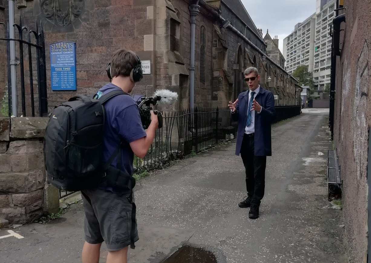 """Filming """"Funshine on Leith"""" comedy walking tour with a difference! The tour was in collaboration with Invisible Cities and the film was made by Walker Creative"""