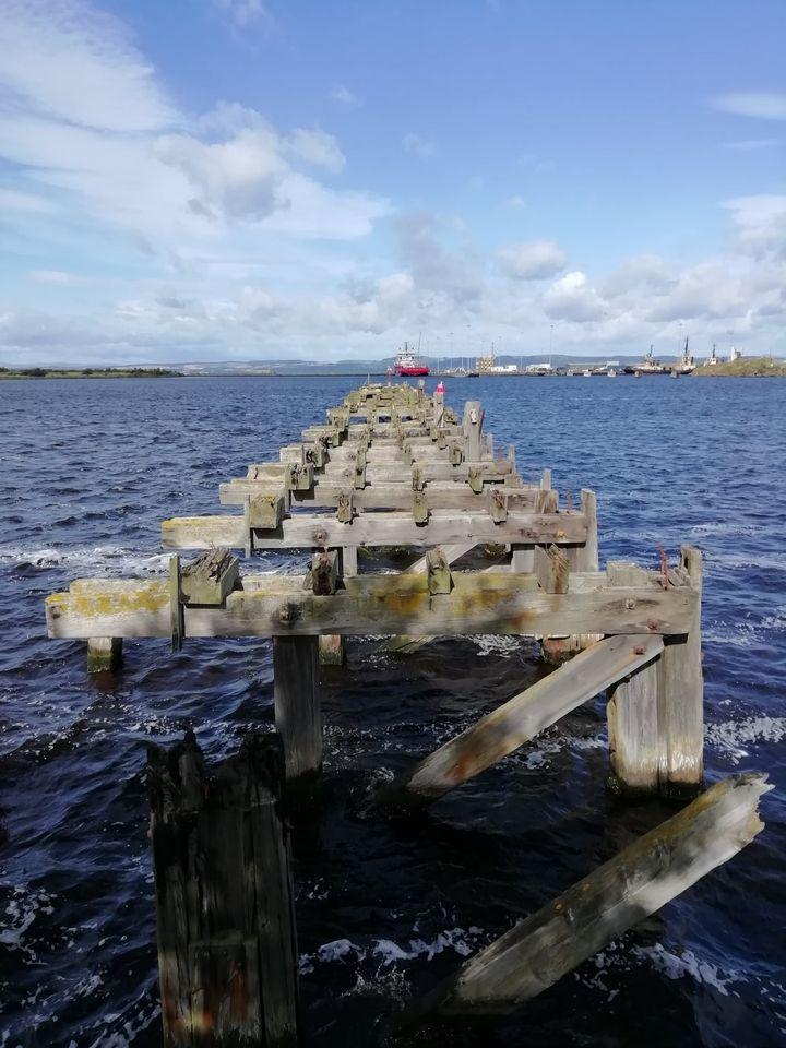 Pier with Antony Gormley Statue, Ocean Drive, Leith