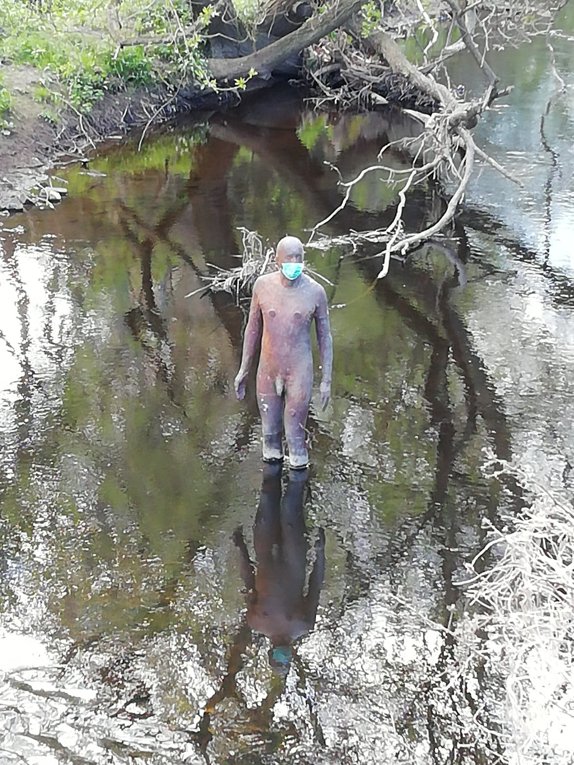 Antony Gormley Statue, Water of Leith, Anderson Place, Leith, Edinburgh