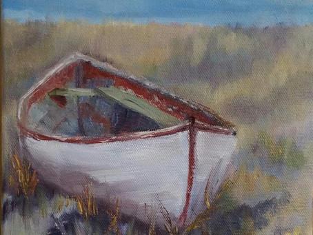"""White Canoe (8"""" x 8"""")"""