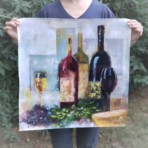 """Wine Down"" 24""x24"" Limited Edition canvas giclee"