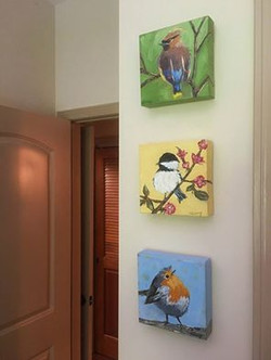 Set of 3 bird paintings