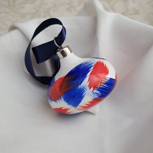 Orange & Blue Swoops Ceramic Teardrop ornament