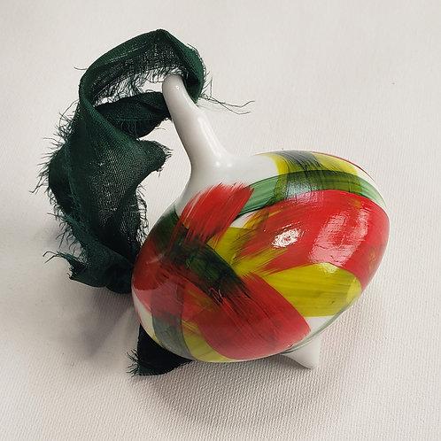 Red & Green Swoops Ceramic Teardrop ornament