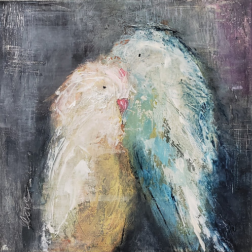 """Lovebirds no. 10""  (10 x 10 in)"
