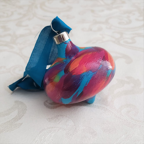 Aqua, Fuchsia, Orange Swoops Ceramic Teardrop ornament