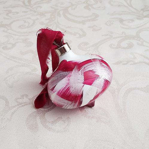 Fuchsia & Silver Swoops Ceramic Teardrop Ornament