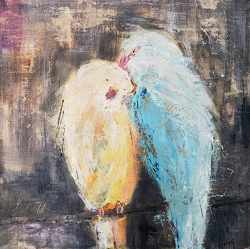 """Lovebirds no. 11""  (12 x 12 in)"