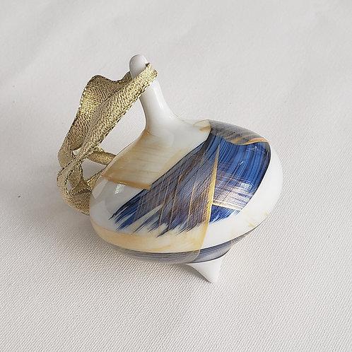 Blue & Gold Swoops Ceramic Teardrop Ornament