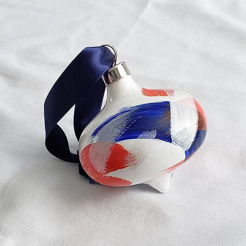 Orange, Blue & Silver Swoops Ceramic Teardrop ornament