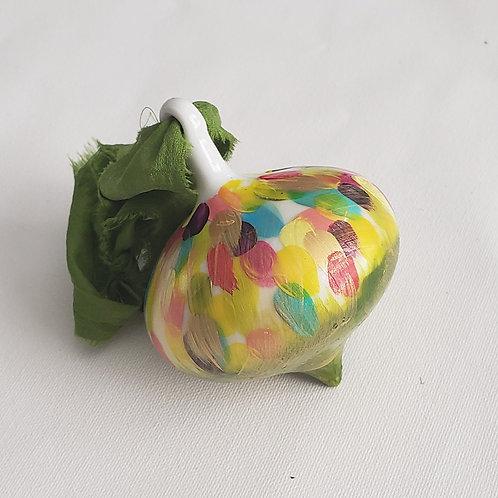 Multi-colored Gumdrops Swoops Ceramic Teardrop Ornament