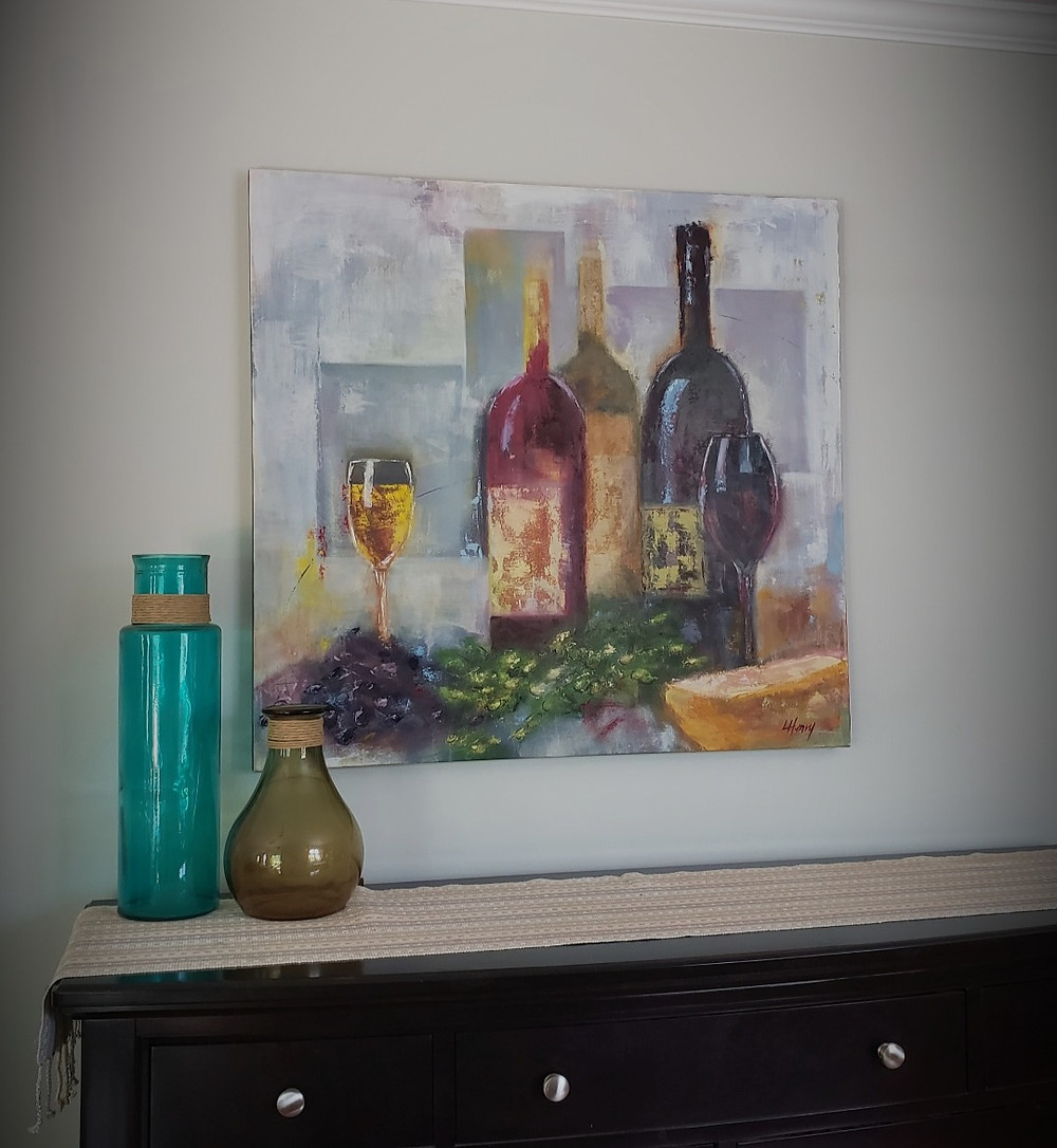 "Original oil painting of ""Wine Down"" by artist Laurie Henry hanging on a wall"