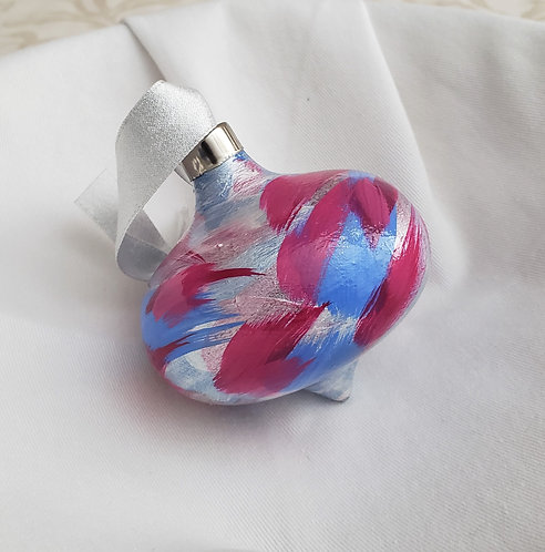 Fuchsia, light Blue & Silver Swoops Ceramic Teardrop ornament