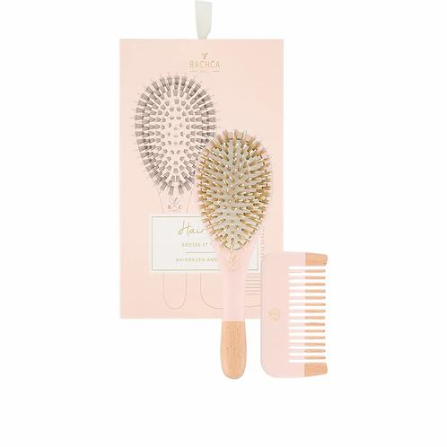 Hair Kit Pink Brosse sanglier nylon + peigne bois