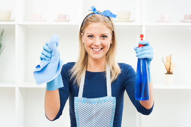 Young housewife is ready for cleaning,It