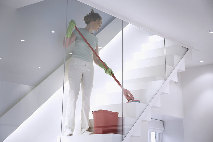 office environment mopping the stairs.j